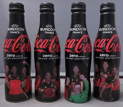 Set of 4 Aluminium Coca-Cola Zero Bottles Belgium Soccer UEFA Euro 2016 carrier