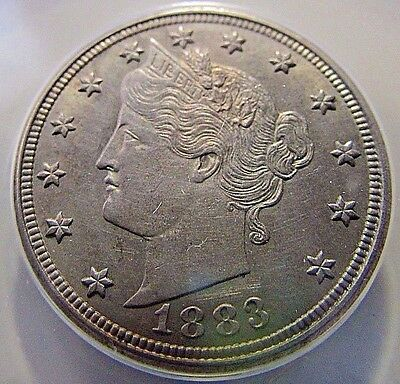 """Sharp....1883 Liberty """"V"""" Nickel***Better ANACS AU 58***Almost MS"""