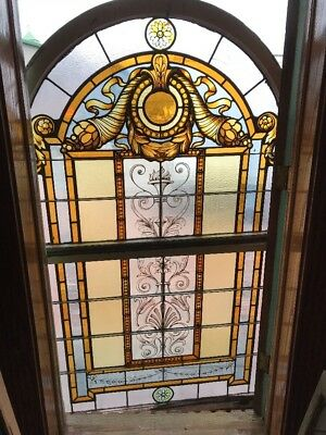 Sg 1638 Antique Painted And Fire Double Hung Arch Top Landing Window 76 X 46.5