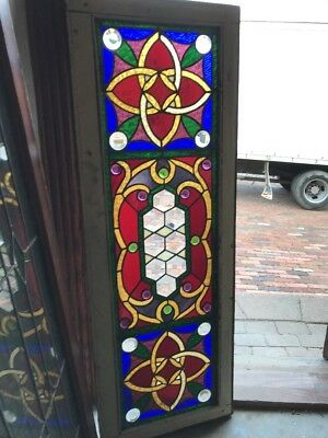 SG 1641 amazing antique jeweled Transom window 18.5 x 52