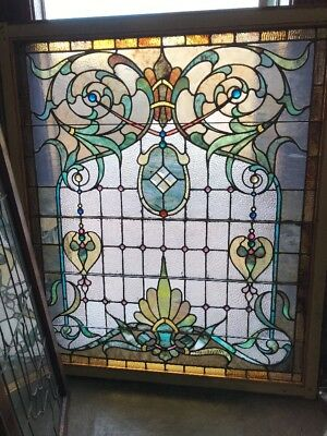 SG 1643 gorgeous pastel antique landing window 45 x 52.5
