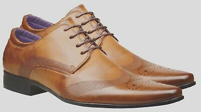Mens Fashion New Brown Tan Leather Shoes Formal Smart Dress Wedding UK Size