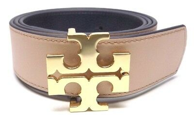 "New Tory Burch 1.5"" Navy  Leather Reversible Logo Belt- S-M"