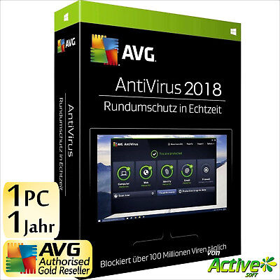 avg antivirus 2018 1 pc 1 jahr vollversion deutsche lizenz picclick de. Black Bedroom Furniture Sets. Home Design Ideas