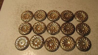 15 Antique Stamped Brass Rosettes  No. 1
