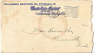 1903 Follansee Brothers Co. Envelope: Pittsburg To Pennville Indana