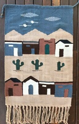 Vintage Native American Indian Hand Woven Pictorial Rug Saddle Rug