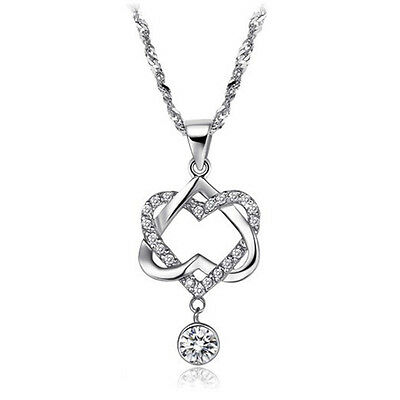 Women 925 Silver Filled Double Crystal Heart Pendant Necklace Chain Jewelry JEW