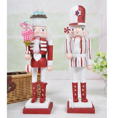 2X Wooden Soldier Puppet Christmas Nutcracker Toy Home Decoration Gift 38cm