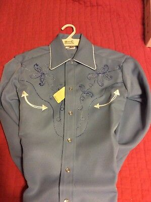 VTG H Bar C Western Shirt Pearl Snap Coronado Blue 14 1/2 Deadstock Rockabilly