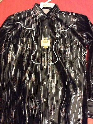VTG H Bar C Western Shirt Pearl Snap Universe Black 15-34 Deadstock Rockabilly