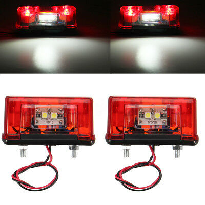 1/2x Waterproof LED Rear Tail License Number Plate Light Lamp Car Truck Trailer