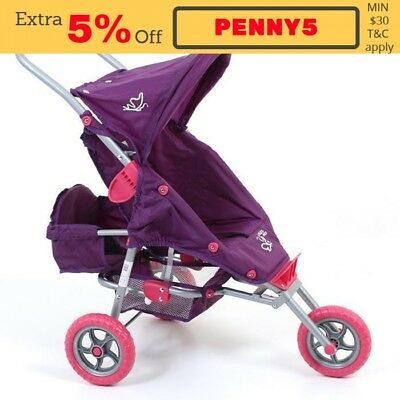 NEW Valco Baby Mini Marathon Doll Stroller with Toddler Seat - Purple