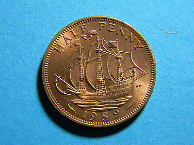 Great Britain UK England 1959 half penny Coin (lot #0181)