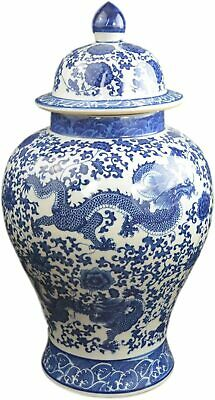 """20"""" Classic Blue and White Porcelain Floral Temple Jar Vase, China Ming Style..."""