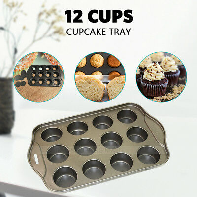 12 Cups Cheesecake Cupcake Tray Heavy Duty  non-stick Tin Loose Base  Mould UA
