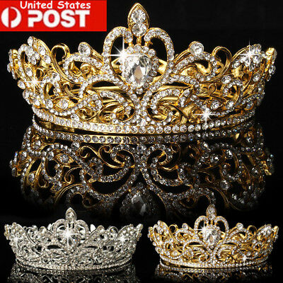 Crystal Rhinestone King Crown Tiara Wedding Pageant Bridal Diamante Headband USA