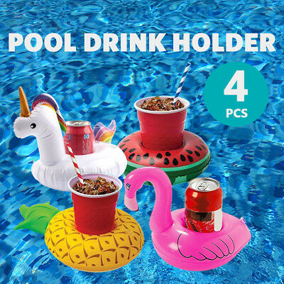 4PC Mini Floating Inflatable Drink Can Bottle Phone Holder Stand Pool Toys AU