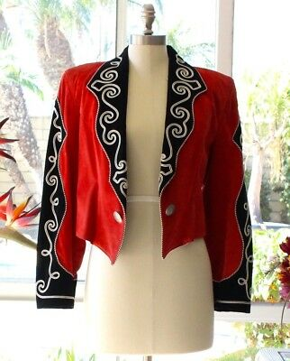Vintage 80's Port Cowgirl Western Red & Black Leather Embroidery Jacket RARE