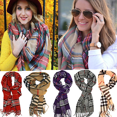 Fashion Plaid Blanket Scarf Tartan Checked Pashima Shawl Oversized Winter Wrap