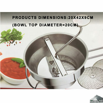 Mini Stainless Steel Food Mill Masher Ricer Strainer Puree Kitchen With 3 Disc