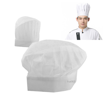 20 Pcs Updated Chefs White Paper Hats Disposable Professional Restaurant Hotel