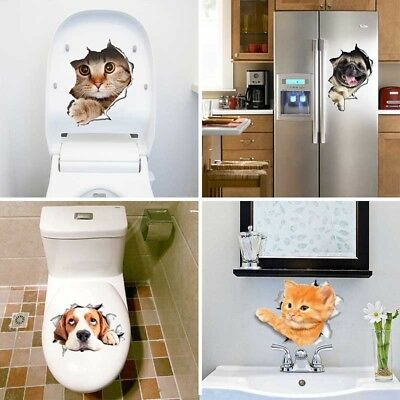 3D Removable Cute Dog Cat Animal Bathroom Toilet Seat Wall Sticker Decal Decor