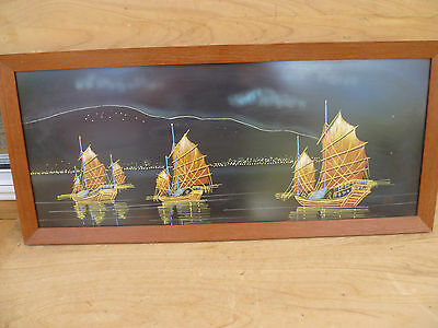 VINTAGE OLD LARGE FRAMED SILK FROM MALAYSIA SHIP SCENE (63X28cm (322)