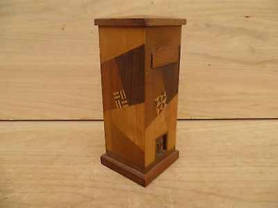 Vintage Old Timber Inlaid Trick Box, Old Box (395)