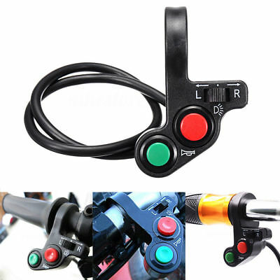 """Motorcycle 3in1 Head/Turn Signal Light/Horn ON-OFF Switch 7/8"""" Handlebar Button"""
