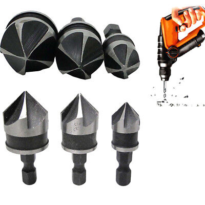 3x Hex Countersink Boring Set for Wood Metal Quick Change Drill Bit Tools Hot