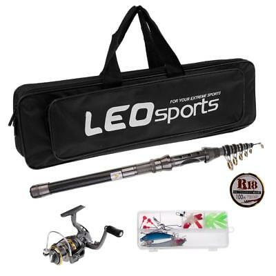 2.1m Telescopic Rod and Reel Combo Travel Spinning Fishing Pole Kit with Bag