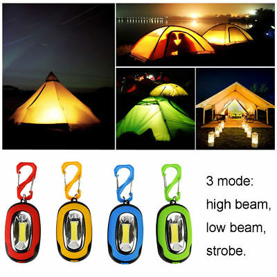 Mini Camping Light LED COB Keychain Useful Flashlight Key Ring Torch Lamp 3-Mode