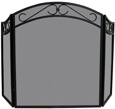 Fireplace Screen Wrought Iron Black Arch Top 3-Panel Decorative
