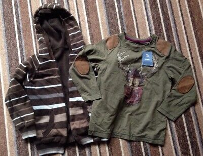 BOYS AGE 5-6 YEARS ZIP UP HOODIE BY NEXT & NEW TOP BY TU. 2 Items