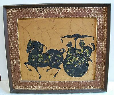 Chinese Horse and Carriage Art of Batik Picture in Wood Frame Vintage