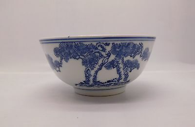 Rice or Soup Bowl Blue and White Porcelain Chinese with Tree Design Vintage