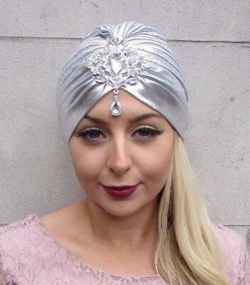 Silver Diamante Turban 1920s Headpiece Great Gatsby Flapper Fascinator Vtg 4428