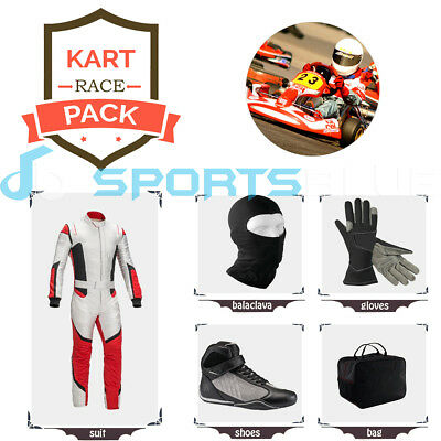 Go Kart Race suit (includes Suit, Gloves,Balaclava & Shoes)free bag - white/red