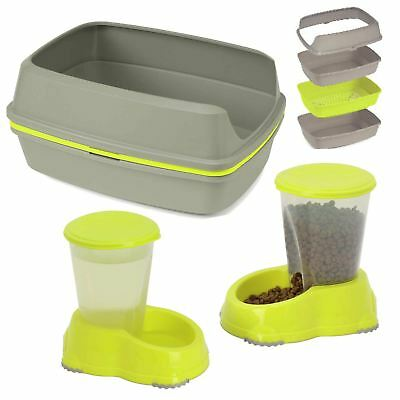 Cat Large or Jumbo Scoopless Litter Tray + Sipper + Snacker - 3 Colours Bowl