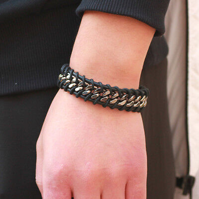 Black Braided Leather Silver Stainless Steel Fashion Chain Men's Bracelet Bangle