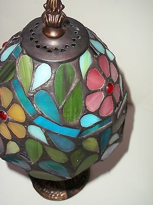 Tiffany Style Stained Glass Small Accent Table Desk Lamp Night Light  Flowers