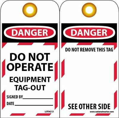 "NMC LOTAG13 Lockout Tag ""DANGER - DO NOT OPERATE - EQUIPMENT TAG-OUT"" 6"" Heig..."