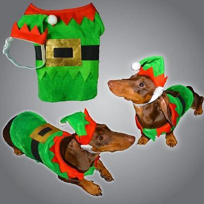 Christmas Pet Dog Elf Costume With Hat