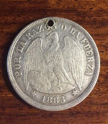 1883 Chile 1 Un Sol Silver Coin HOLED .900 Fine KM 142.1
