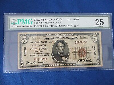1929 $5.00 National Currency, The National Bank of Queens County New York, NY PM