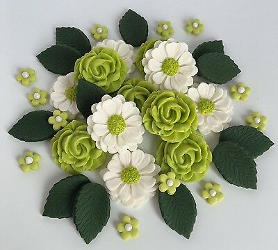 Lime//Ivory Wedding Roses Bouquet Cake Decorations Sugar Flowers Cupcake Toppers