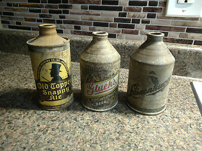 Lot 3 Cone Top Beer Cans Old Topper Snappy Ale Leinenkugel Gluek's Pilsner Rust