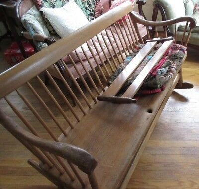 Antique Wood Rocking Bench Mammy Rail Arrow Back Early American Maple