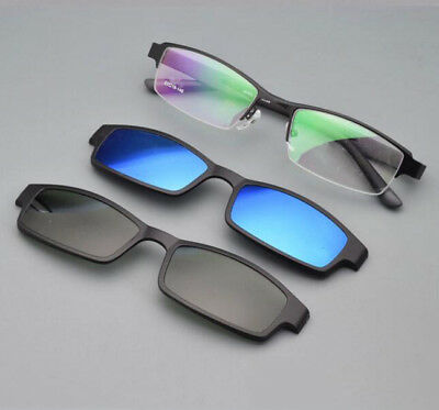 37328196da Men Eyeglasses Frame 2 pcs Magnetic Polarized Clip-on Driving Sunglasses Rx  able